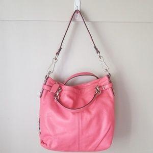 "Coach ""brooke"" coral leather purse hobo shoulder"